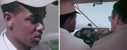 Beyene Guililat in 1963, flying a plane over suburban Washington, D.C., during a lesson with his instructor.