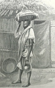 One of Emperor Menilik's servants carries injera in a basket on his head and wot sauce in a jug by his side