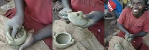 Making a shakla dist: forming the bottom (l), then the top (c), and the finished product, with the potter (see full video below)