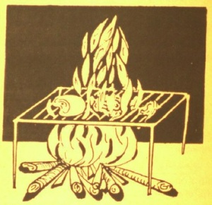 A drawing from the book:   meat cooking on an open flame