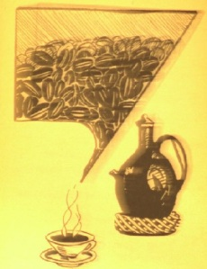 Brewing coffee ,  an image from Zewdu's book