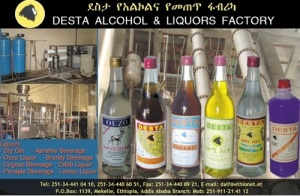 Desta makes a variety of liquors sold in Ethiopia