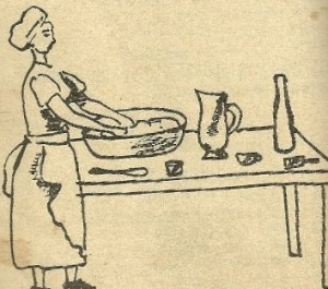 Kneading dough to make bread,  from a 1963 Ethiopian cookbook