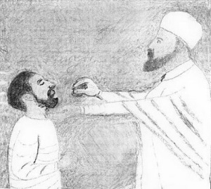 A priest offering gursha to a friend
