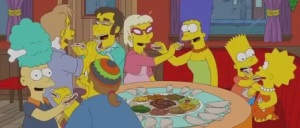 Marge and the kids enjoy gursha on The Simpsons