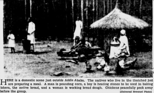 A rare look at Ethiopian domestic life, c. 1935, in a photo that appeared in U.S. newspapers