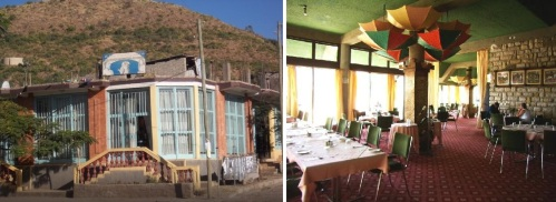 The legendary city of Aksum, Ethiopia's ancient capital, has Ethiopian and international cuisine  at Atse Yohannes Restaurant (l), and more international choices at the restaurant of the Yeha Hotel.