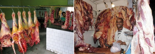Two butcher shops in Addis Ababa, Ethiopia