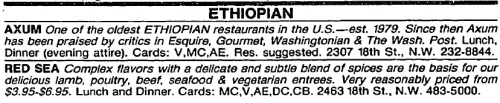 The Washington Post has a classified ad category for Ethiopian restaurants in 1985