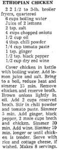 Ethiopian chicken recipe  (LA Times, 1966)