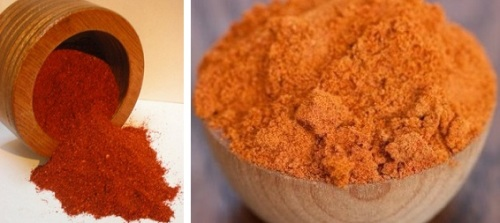 Dark red berbere, and the much lighter mitmita