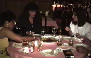 A meal at Tana in Dallas, 1994. The diners have individual plates in front of them but don't seem to be using them.
