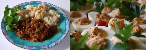 Goulash with dumplings (left) and berbere deviled eggs (right)