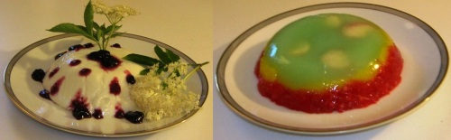 Fortified bula pudding (left),  and bula jello in the colors of the Ethiopian flag