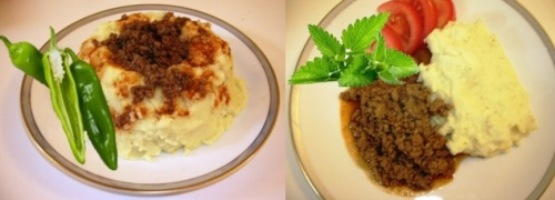 Two ways to serve Wilma's mashed potatoes with berbere-spiced meat sauce