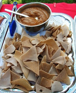 A berbere-spiced shiro dip with injera chips (dirkosh)