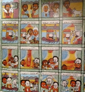 Some art on the wall at Addissae tells a story of Ethiopian history.