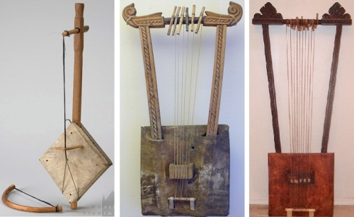 Three traditional instruments: masenqo, krar, begena