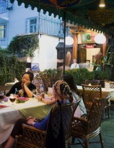 Al fresco dining at Ras in Beijing