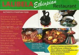 A promotional flier from Lalibela in Kigali, Rwanda